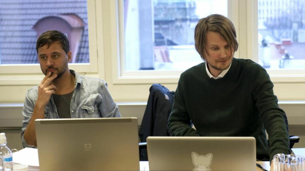Røyksopps Svein Berge og Torbjørn Brundtland (t.h.) i Bergen Tingrett. Foto: Marit Hommedal / NTB scanpix