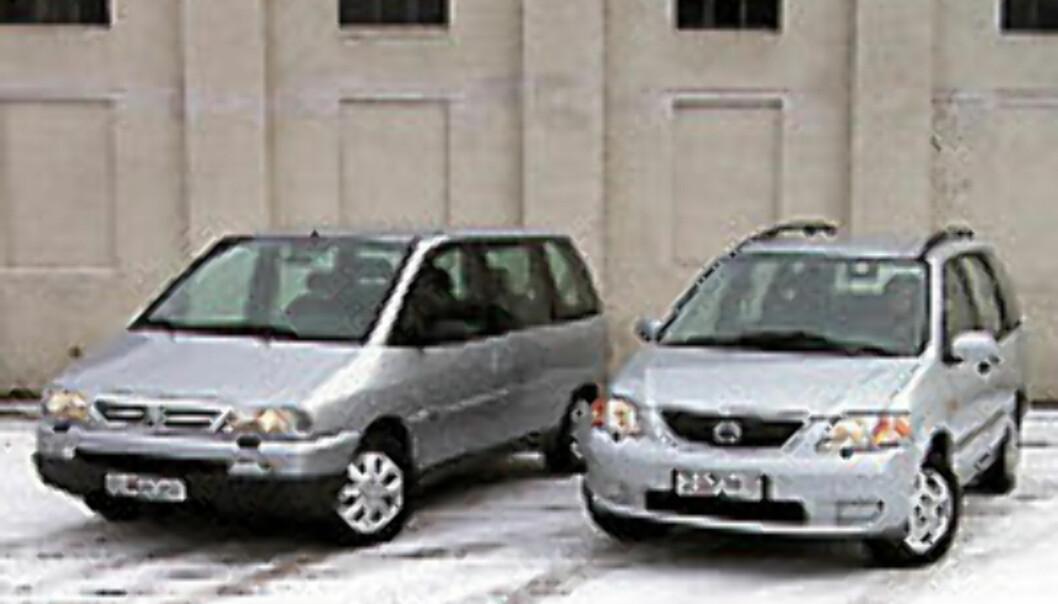 DUELL: Mazda MPV møter Citroën Evasion