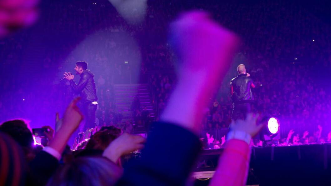 <strong>TOPPET FORVENTNINGENE:</strong> Karpe Diem leverte kanskje den første utsolgte norske rapkonserten i Spektrum, uten at det egentlig kan kalles en hiphop-konsert. Foto: Terje Bendiksby / NTB Scanpix
