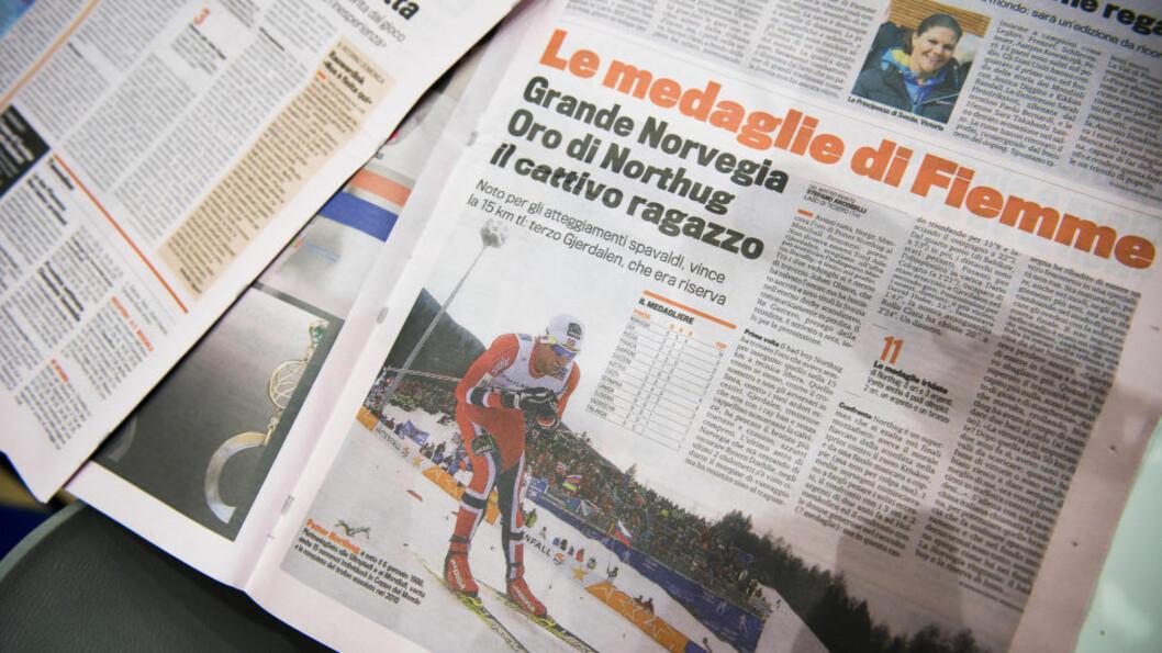 <strong>OGSÅ I ITALIA:</strong>  På tross av magre tider i italiensk langrenn får i hvert fall Petter Northug noen oppslag i La Gazetta dello Sport. FOTO: Håkon Eikesdal.