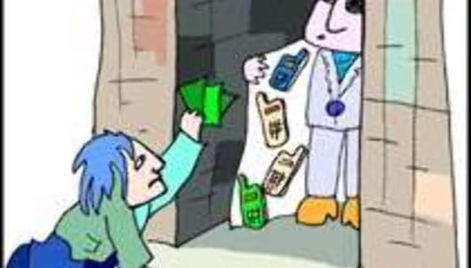 """Kjøp heller lovlig hittegods enn ulovlig tyvegods. (Tegning: <A HREF=""""http://home.c2i.net/angelshag/mainpage.htm"""" target=""""_top"""">Anne Angelshaug</A>)"""