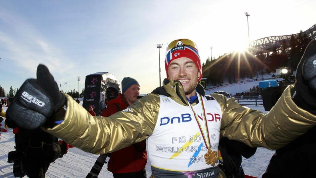 <strong>SOLSKINN:</strong> Petter Northug vant femmila i strålende sol under VM for to år siden. Sånn det ser ut nå, forsvinner sola før årets Kollen-helg. Foto: Lise Åserud / NTB Scanpix