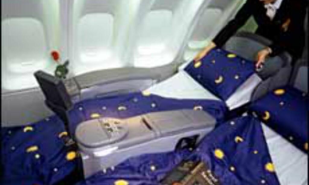 Her kan du innta horisontalen hos Lufthansa.<br /> <I>Foto: NewsCast</I> Foto: NewsCast