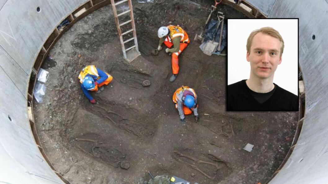 OFRE FOR BYLLEPESTEN:I London er det funnet 14 skjeletter arkeologene mener ble lagt i en massegrav under Svartedauden. Postdoktor Kristian Starheim ved NTNU skal nå forske på svartedaudenbakterien sammen med amerikanske forskere. Fotomontasje: AFP/NTB Scanpix/Universitetet i Bergen