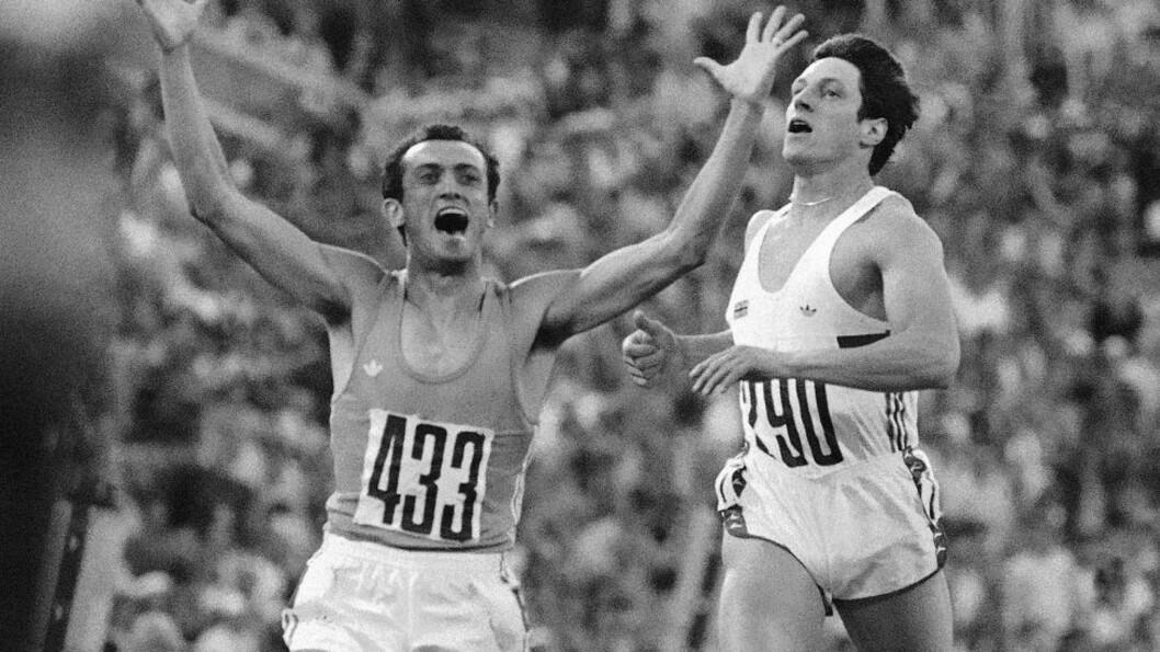 <strong>OL-GULLVINER:</strong> Pietro Mennea (t.v) vant 200 meteren i OL i Moskva i 1980. Han løp inn på tida 20,19 sekunder. Foto: AP/ NTB SCANPIX
