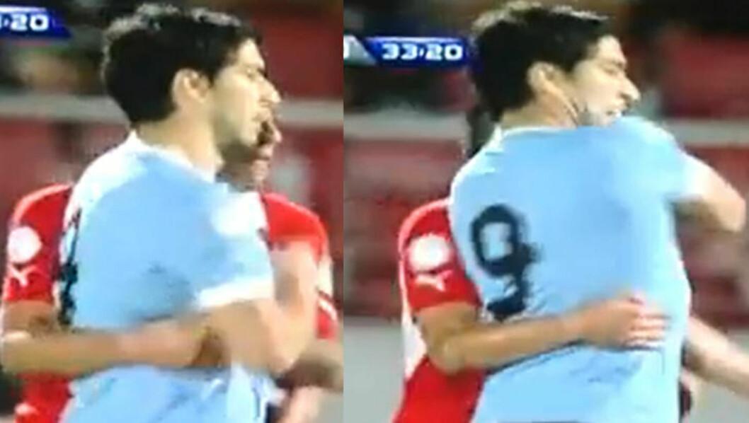 <strong>ANNEN VINKEL:</strong> Slik så episoden ut fra andre siden, alt tyder på at Suarez i frustrasjon vrir seg rundt og smeller til.