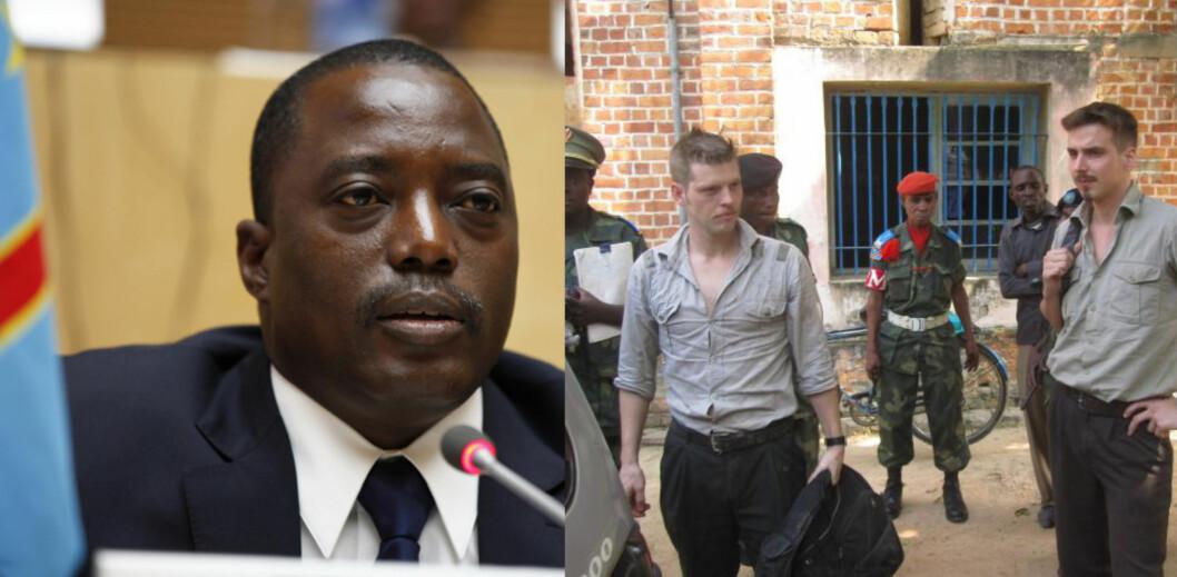 <strong>Nytt krav:</strong> Kongos president Joseph Kabila (t.v.) krever at Tjostolv Moland og Joshua French blir sittende i fengsel i Norge om de skal utleveres fra DR Kongo. Foto: Reuters/Claude Nzunzu