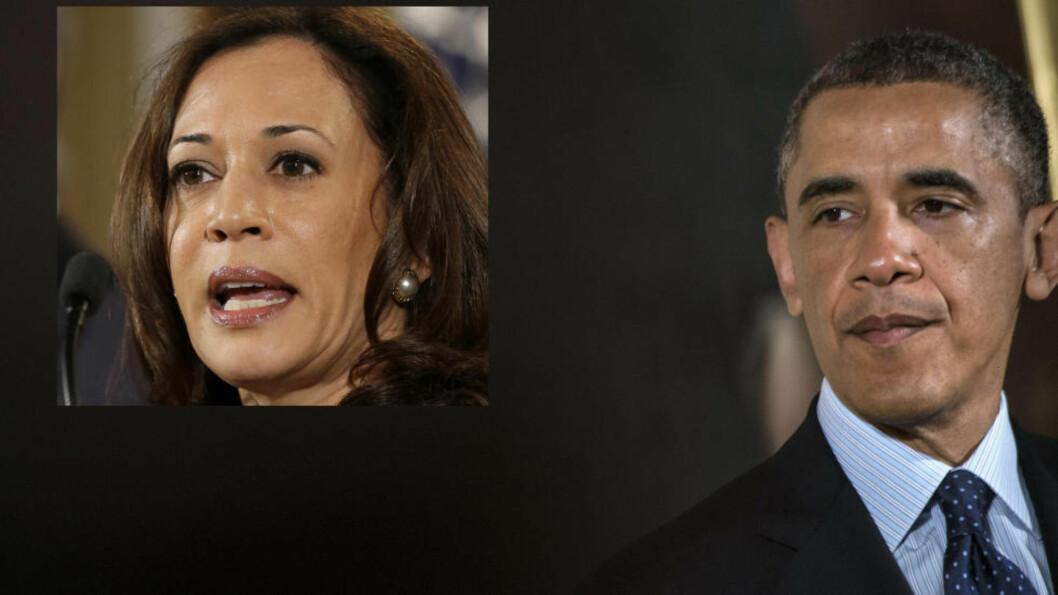 <strong>MÅ BEKLAGE SEG:</strong> Barack Obama må ut å beklage seg etter en uttalelse om Kamala Harris (innfelt). Foto(innfelt): AP Photo / Jacquelyn Martin. Foto: AFP / NTB Scanpix