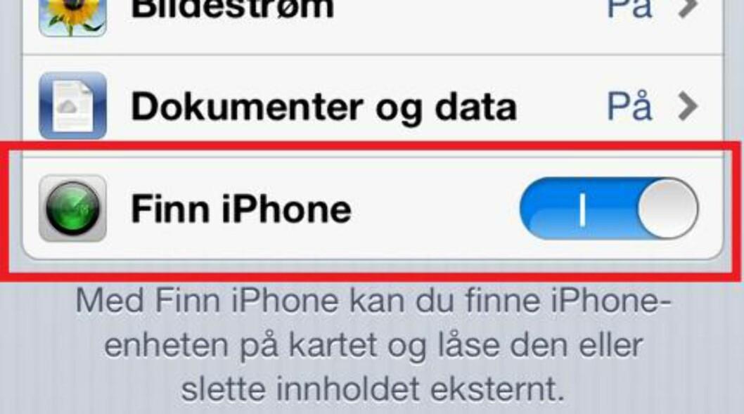 2. Sjekk at haken for «Finn iPhone» er skrudd på. Foto: Skjermbilder