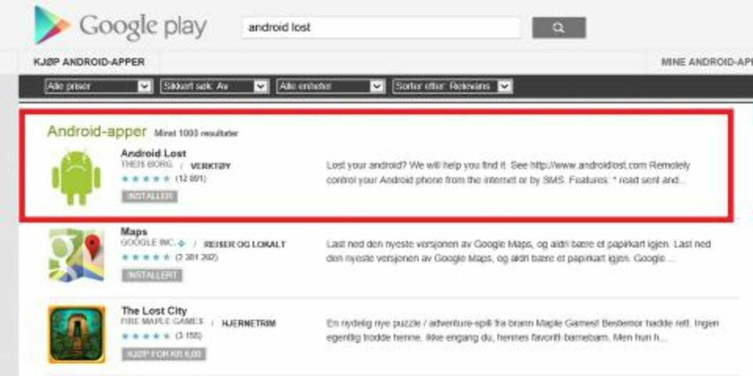 1. Hvis du allerede har mistet telefonen din, kan du logge inn i Google Play i nettleseren og finne appen Android Lost. Logg inn med Google-kontoen din, og klikk på Installer (Dette kan naturligvis også gjøres fra telefonen). Foto: HjemmePC/Skjermbilde