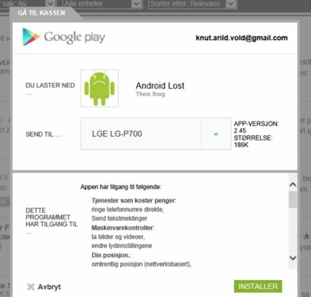 2. Hvis du har flere enheter koblet til Google-kontoen din, velger du riktig enhet fra «Send til»-menyen, og klikker deretter «Installer». Har du telefonen tilgjengelig, kan du starte appen og gi den administrasjonsrettigheter for å få tilgang til alle funksjonene. Foto: HjemmePC/Skjermbilder