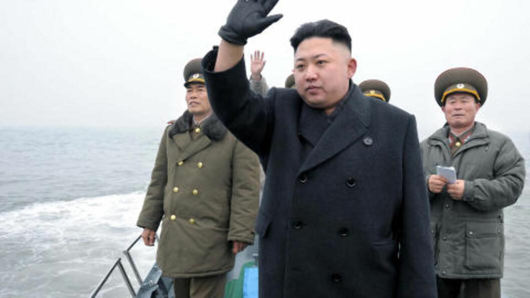<strong>DAGENS DIKTATOR:</strong> Kim Jong -un har de siste ukene provosert omverdenen med massiv krigsretorikk. Men idag, på farfarens bursdag, har det vært stille.  AFP PHOTO
