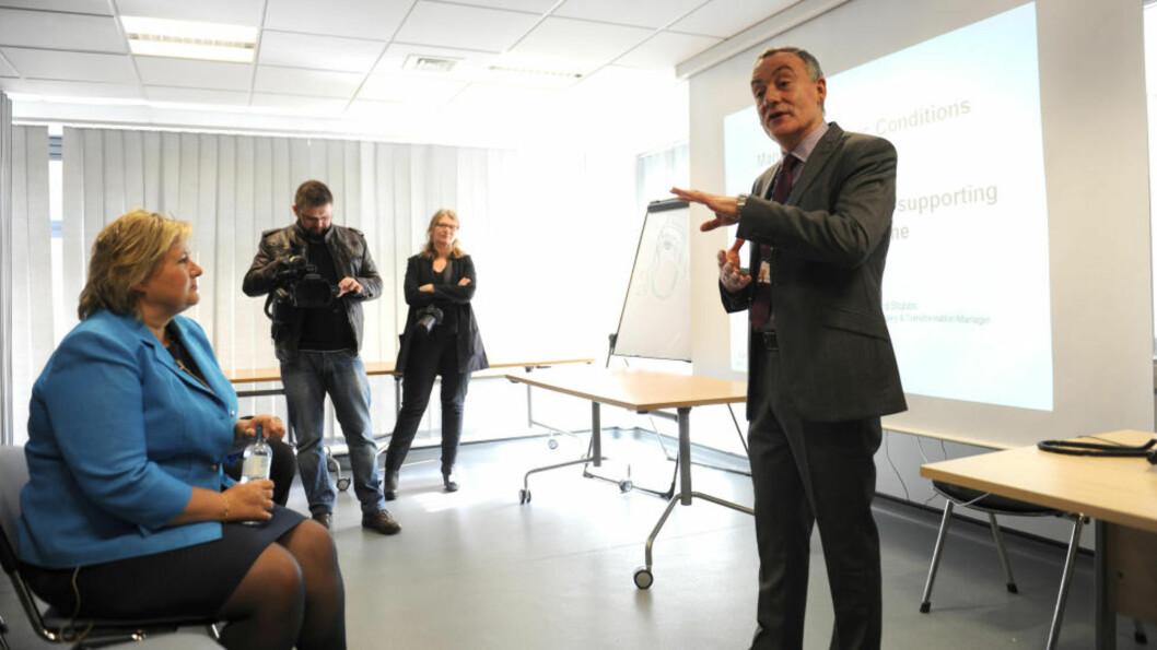 <strong>LÆRER AV BRITENE:</strong> Høyre-leder Erna Solberg er i London for å lære om britenes helsepolitikk. Her på besøk hos NHS Newham General Hospital  i London. Foto Keith Hammett /Dagbladet.