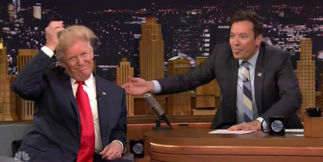Fallon fikk kjeft etter å ha rufset til Trump-sveisen. Nesten ett år seinere legger han seg langflat