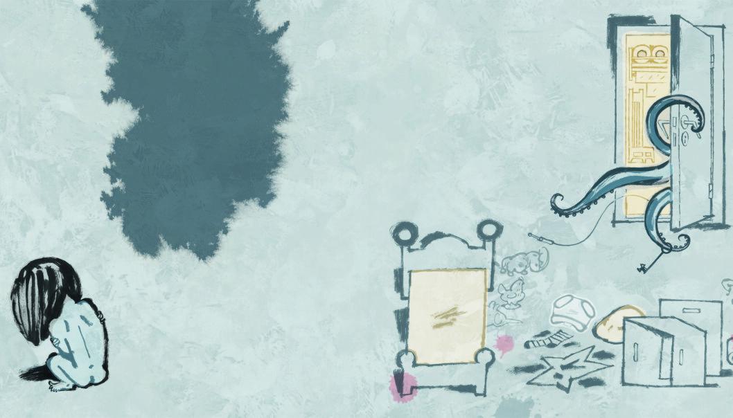 <strong>OVERGREP:</strong> Lille Gullet i Gro Dahle og Svein Nyhus' nye bildebok blir offer for en blekksprut. Illustrasjon fra boka