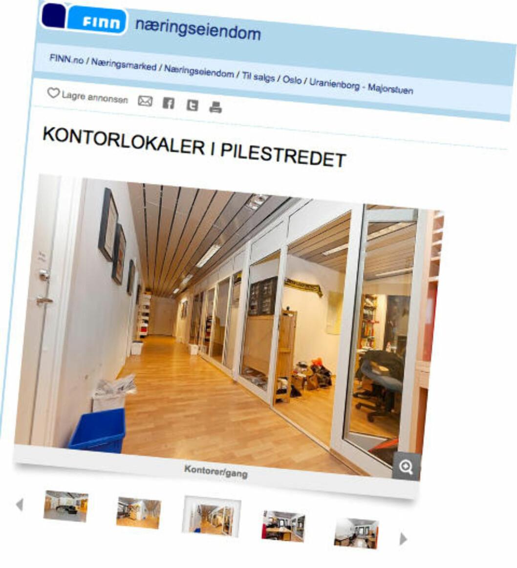 <strong>TIL SALGS:</strong> SOS Rasismes kontorlokaler i Oslo er til salgs for 11,5 millioner kroner. Skjermdump: Finn.no