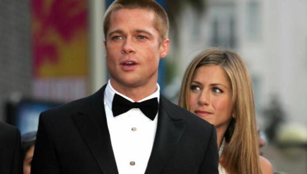 «TYPEN TIL RACHEL»:  Steffen snakket med Brad Pitt, som han omtaler som «typen te a Rachel». Steffen Iversen er stor fan av TV-serien «Friends» («Venner for livet»), der Pitts tidligere kone Jennifer Aniston (t.h.) fikk sitt store gjennombrudd som rollefiguren Rachel.    Foto: ERIC GAILLARD / REUTERS / NTB SCANPIX