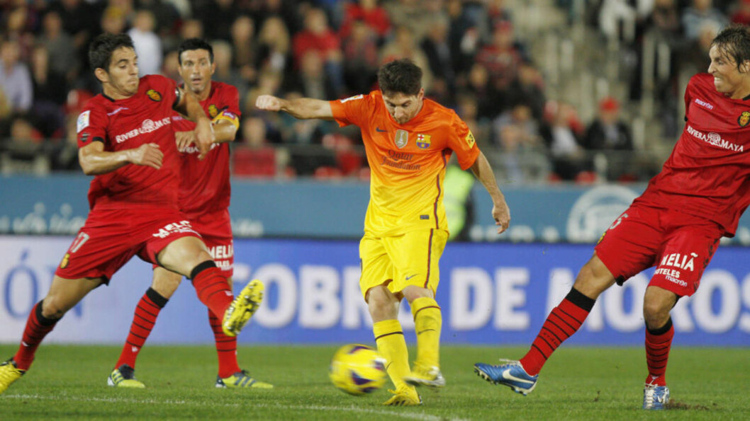 <strong>IKKE SÅ VERST:</strong> Barcelonas Lionel Messi scoret like gjerne to ganger til i dag. Foto: SCANPIX/REUTERS/Enrique Calvo