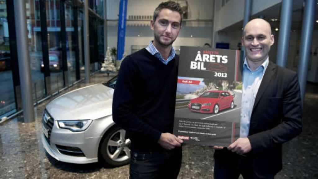 GLADE VINNERE: Informasjonssjef Marius Tegneby og direktør Vidar Eriksen, Foto: Øistein Norum Monsen