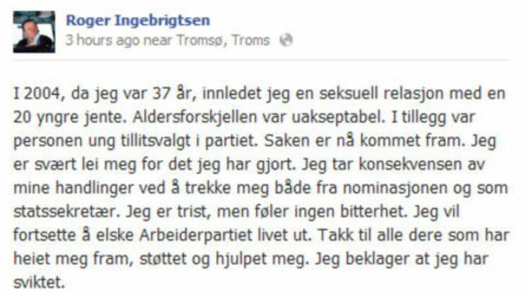 FACEBOOK-MELDINGEN: Her er meldingen hvor Roger Ingebrigtsen trekker seg som statssekretær. Skjermdump: Facebook