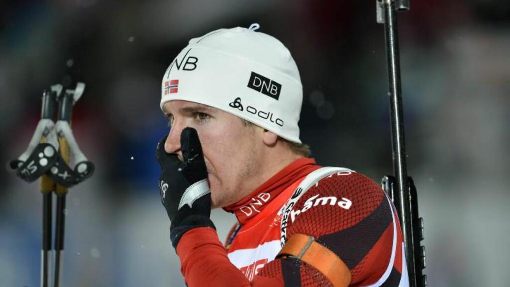 SKUFFET OVER SEG SELV: Emil Hegle Svensen bommet tre ganger på stående og ødela dermed det som ville vært et sikkert palløp med én bom mindre.   Foto: ANDERS WIKLUND / NTB scanpix