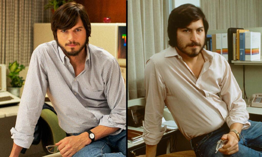 SOM TO MACBOOK PRO: Det er ikke lett å se forskjell på Ashton Kutcher anno 2012 og det klassiske bildet av Steve Jobs til høyre (udatert). Foto: AP Photo/Sundance Institute/NTB Scanpix og Tony Korody/Sygma/Corbis/NTB Scanpix
