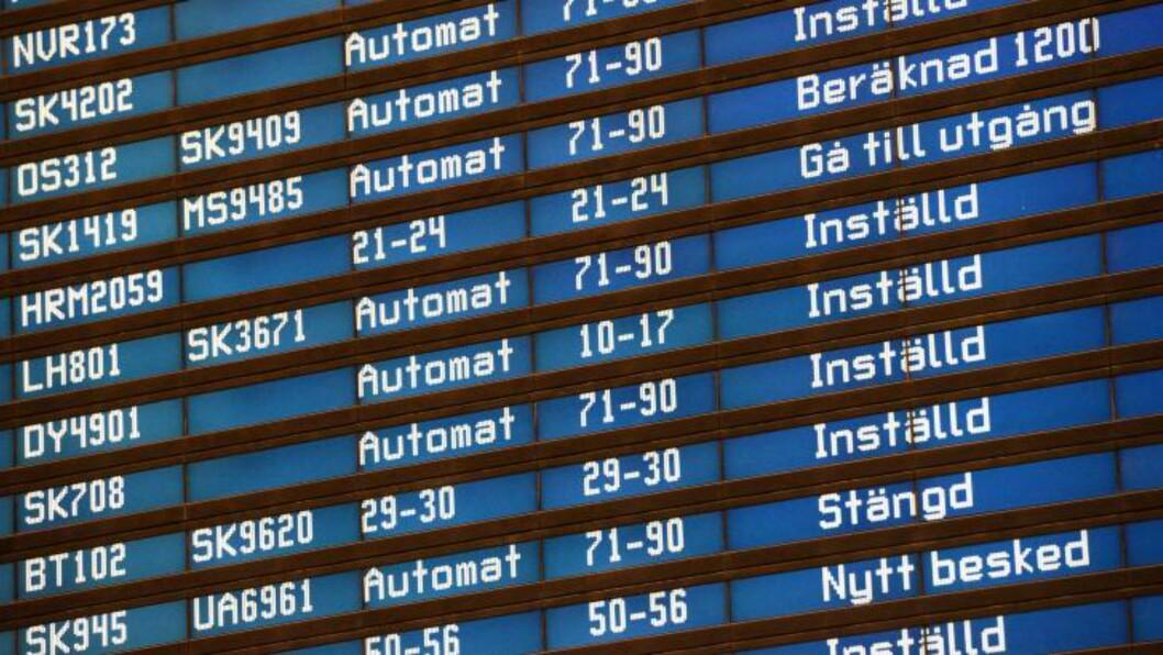 <strong>INNSTILT:</strong> Mange av flyene fra Arlanda er innstilt.  Foto: Johan Nilsson / NTB scanpix