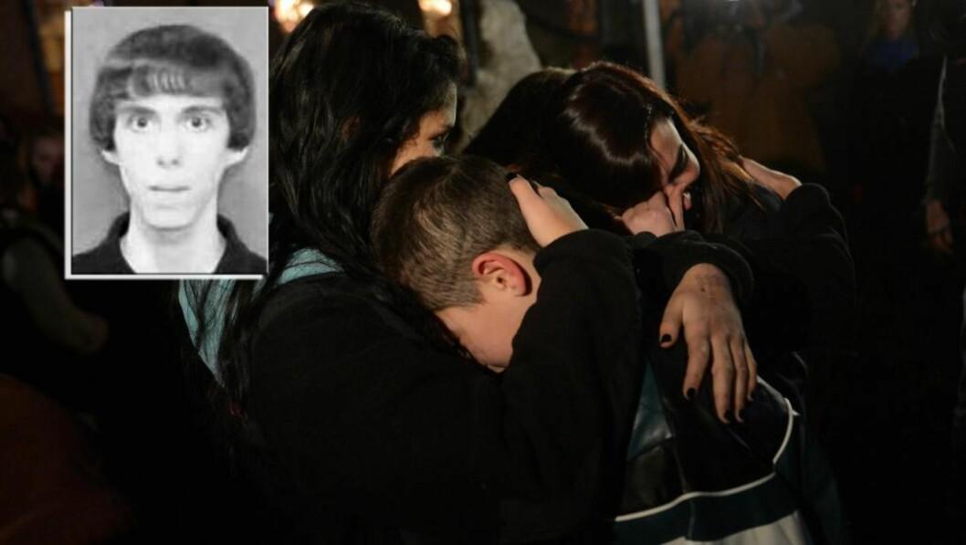 <strong>MASSEDRAPSMANN:</strong> Adam Lanza (innfelt) drepte 20 barn og seks voksne ved Sandy Hook barneskole i Newtown Connecticut i går. Men før han startet massakren drepte han sin eget mor, som han bodde sammen med. Til slutt tok han selvmord. Foto: Emmanuel Dunand / AFP Photo