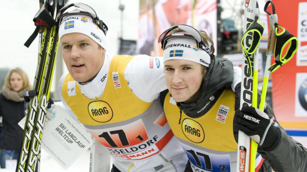VANT I TYSKLAND: Jesper Modin og Teodor Peterson vant lagsprinten i Düsseldorf i desember 2011. Foto: REUTERS/Kirsten Neumann