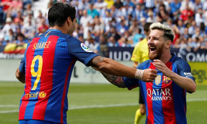 <strong>HERJET:</strong> Lionel Messi og Luis Suarez ydmyket Legonas. Til slutt vant Barcelona 5-1. Foto: NTB Scanpix33