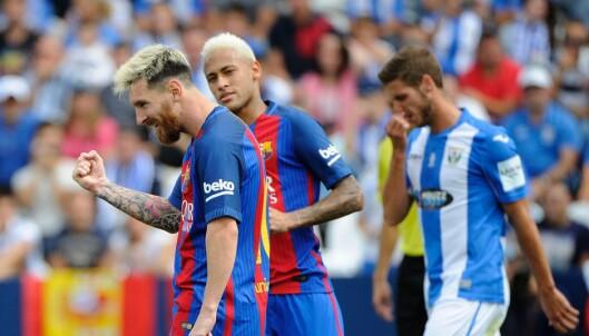 <strong>I TOPPSLAG:</strong> Lionel Messi scoret to mål, men det var forarbeidene til 2-0 og 3-0 som begeistret fotballelskerne mest. Foto: AFP PHOTO / PEDRO ARMESTRE