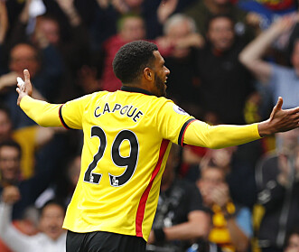 <strong>GLOHET:</strong> Etienne Capoue har scoret fire mål på fem kamper fra Watfords midtbane så langt denne sesongen. Foto: NTB Scanpix