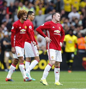 <strong>NY TUNG DAG:</strong> Wayne Rooney og Manchester United har tapt tre kamper på rad og skuffet stort borte mot Watford. Foto: NTB Scanpix