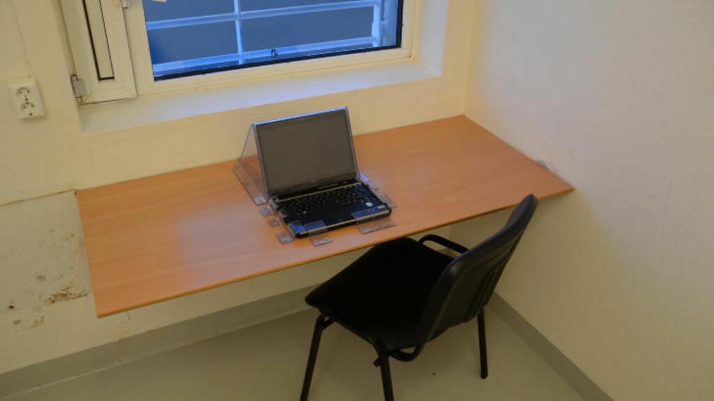 ARBEIDSROM: En av de tre cellene Breivik har tilgang til, er gjort om til arbeidsrom. Foto: Ila fengsel og forvaringsanstalt/Glefs AS