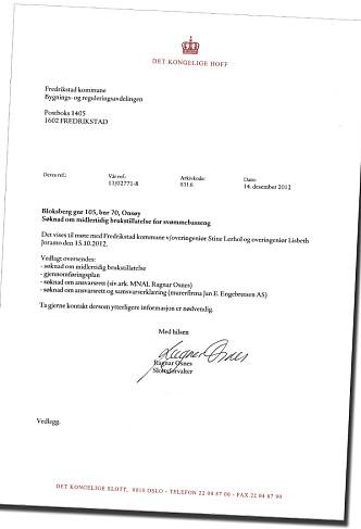 <strong>HER ORDNER SLOTTET OPP:</strong> Slottsforvalter Ragnar Osnes sendte brev til Fredrikstad kommune da Det konglige hoff overtok ansvaret for utbyggingen av Märthas Louises private bassengprosjekt.
