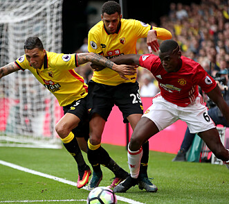 <strong>WATFORD:</strong> Paul Pogba i aksjon mot Watford. Foto: NTB Scanpix