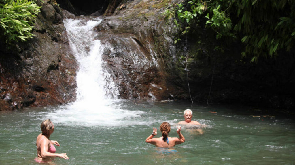 DUKKERT: Forfriskende dukkert på fotturen i Puntarenas. Over en fjerdedel av Costa Rica er vernet som nasjonalparker. I skogene her fins alt fra vakre sommerfugler og fargerike frosker, til slanger, dovendyr og apekatter. Foto: TOM HELGESEN