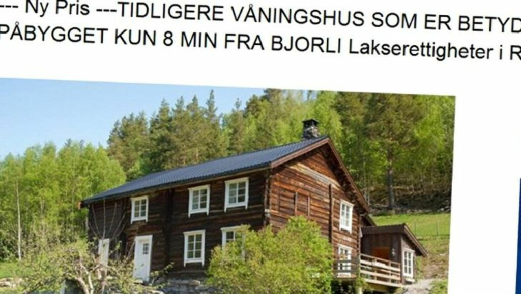 TIL SALGS: Hytte på Verma ved Bjorli med fire soverom. Primærrom 165 kvm. Byggeår 1851. Prisantydning 1 650 000 kroner.  Foto: Faksimile/Finn.no