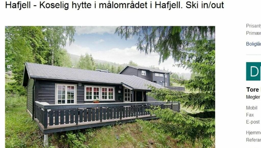 TIL SALGS: Hytte på Hafjell med tre soverom. Primærrom 58 kvm. Byggeår 1992. Prisantydning 1 700 000 kroner.  Foto: Faksimile/Finn.no