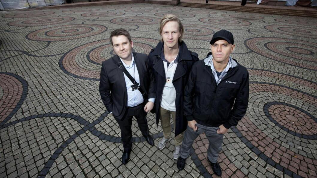 SMARTE KARER: Mensa jakter kloke hoder. Olav Myren Tørresvold, Thomas Gangstad (22) og Kjetil Stea Eid (32) (t.h).   Foto: Henning Lillegård/Dagbladet.