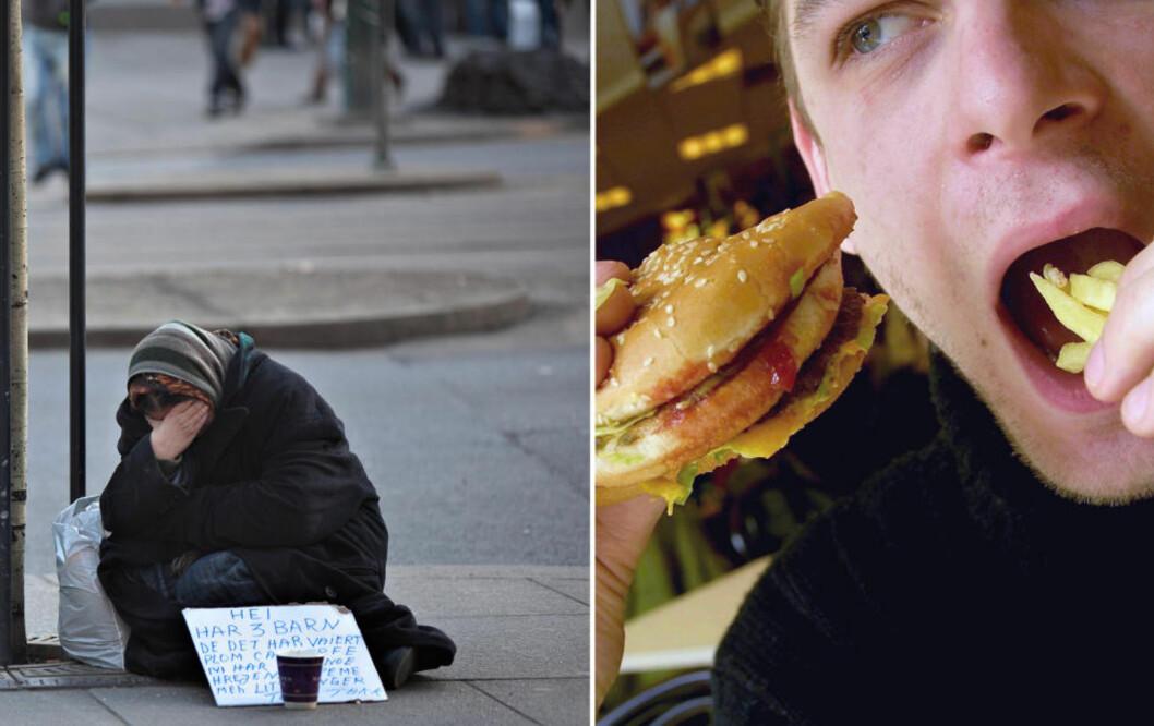 DÅRLIG LIVSSTIL TAR FLERE LIV ENN SULT: Sykdommer relatert til livsstil forårsaker mellom 70 og 80 prosent av norske dødsfall. Det er flere som dør av livsstilssykdommer enn av sult og overvekt og fedme er et like stort problem som underernæring. Foto: Anette Karlsen / NTB Scanpix / Colourbox