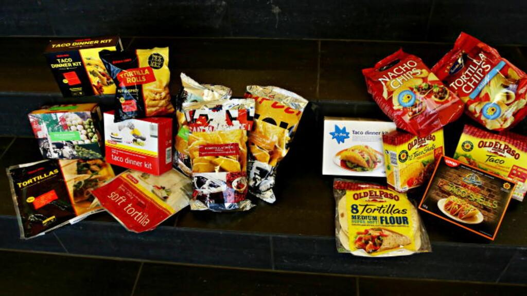 VELG TACOEN MED OMHU  Billigvariantenes tacoprodukter inneholder stort sett 20-30 prosent palmeolje, mens Old el Paso nå bruker solsikkeolje i sin tacoserie. Også billigvariantene til Coop er et godt valg, ettersom de bruker rapsolje i sine skjell. Foto: Jacques Hvistendahl