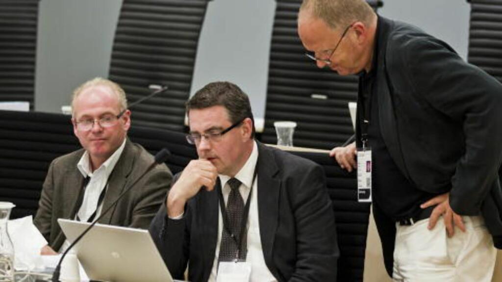 RETTSPSYKIATERNE: Tre av de fire rettspsykiaterne. Fra høyre: Torgeir Husby, Agnar Aspaas og Terje Tørrissen. Foto: Vegard Grøtt / NTB scanpix