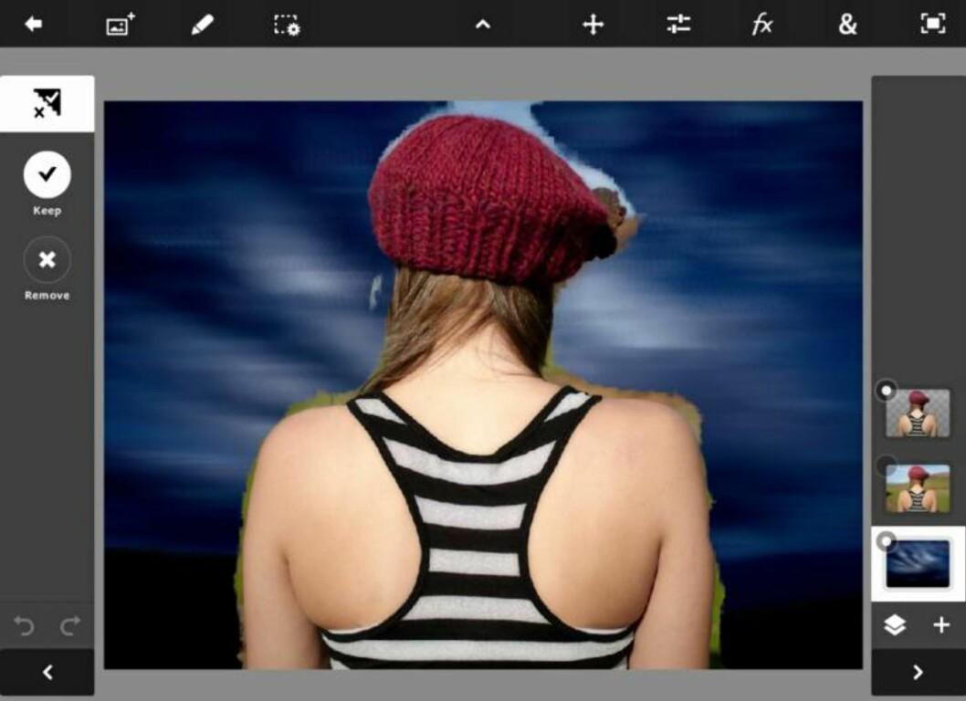 PS TOUCH: Photoshop Touch er en relativt avansert fotoredigeringsapp. Her kan du for eksempel fjerne bakgrunnen på et bilde. HjemmePC/skjermbilder