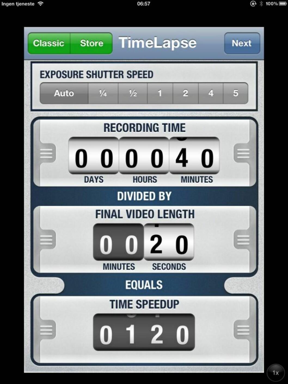 TIMELAPSE: Lag timelapse-filmer med mobilen. Du trenger en god app og det finner du i appen TimeLapse. HjemmePC/skjermbilder