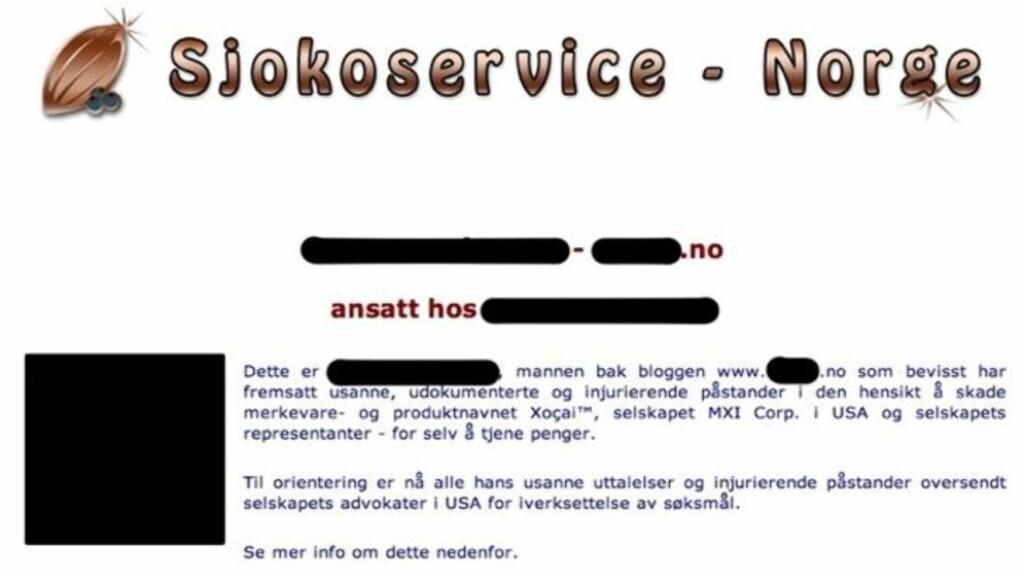LA UT NAVN OG ADRESSE: Sjokoservice Norge la ut personlige opplysningen om «Morten» og hans arbeidssituasjon på sine nettsider. Informasjonen er nå fjernet.