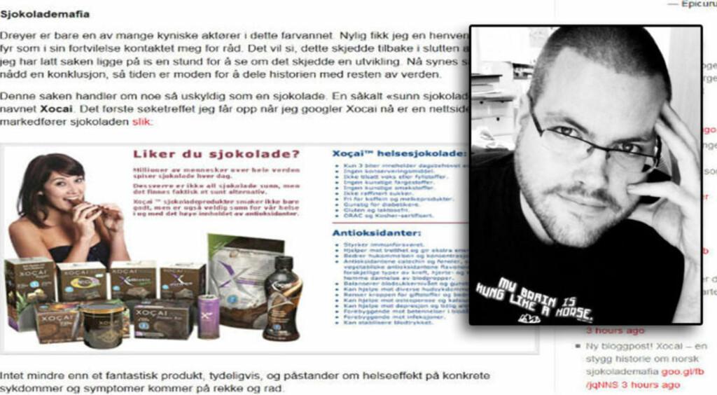 KRITISK TIL SUPERSJOKOLADE: Bloggeren Gunnar Tjomlid skrev i går om hvordan en annen blogger ble truet av Sjokoservice Norge etter å ha skrevet negativt om sjokoladen Xocai.