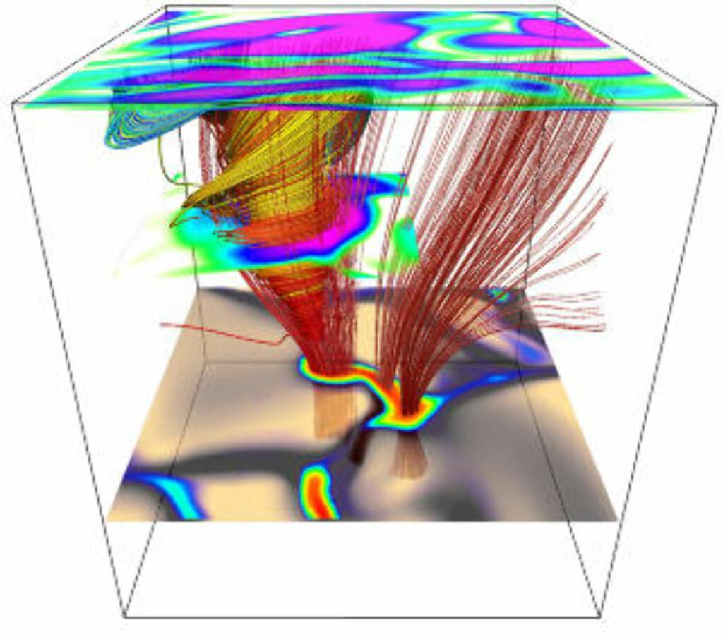 MAGNETFELT: Matematisk modell av en magnetisk soltornado. De fargete linjene i tornadoen viser strømningsmønster av ionisert gass. De røde linjene ved siden av er magnetfelt i solas atmosfære. Illustrasjon: Wedemeyer-Böhm et al. (2012). Laget vha VAPOR.