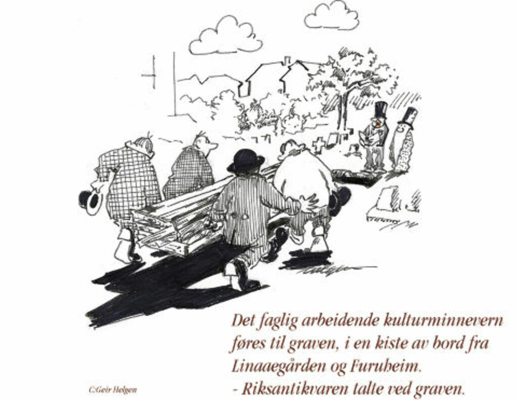 - FØRES I GRAVEN:  Tidligere fylkeskonservator Geir Helgen har tegnet denne tegninga. Illustrasjon: Geir Helgen