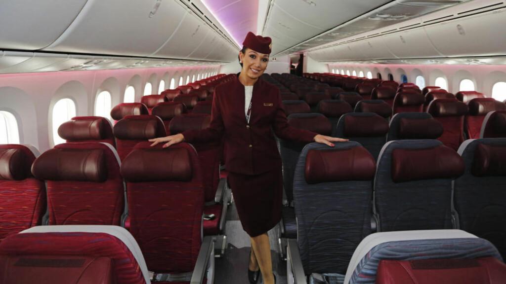 VERDENS BESTE FLYSELSKAP: For andre år på rad stikker Qatar Airways av med tittelen verdens beste flyselskap, i The World Airline Awards. Foto: LUKE MACGREGOR/REUTERS/NTB SCANPIX